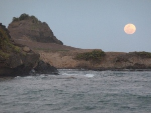 Moonrise at Cas en Bas beach, Cotton Bay