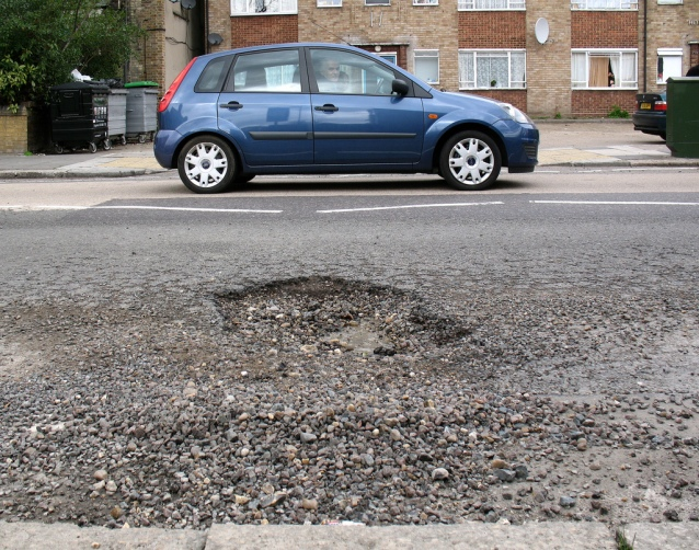 Pothole in London borough of Haringey: Pic Credit: Alan Stanton -Creative Commons