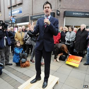 Very 19th century: Ed Miliband campaigning, Pic credit:BBC