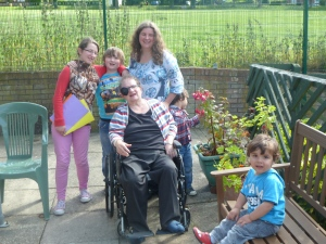 My receovering wife, Margaret; my daughter, anne, and grandchildren Tegan, Leon,Ryan and Daryan on the terrace at Gossoms End