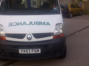 The 5 hr wait ambulance: Picture taken by me at Hemel Hempstead Urgent Care Centre