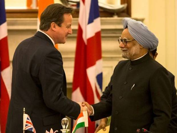 "David Cameron meeting the Indian PM on his "" successful"" business trip"