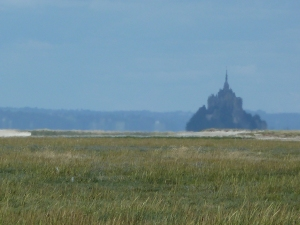 Mont St Michel: Viewed from  the almost  deserted Dol Marsh