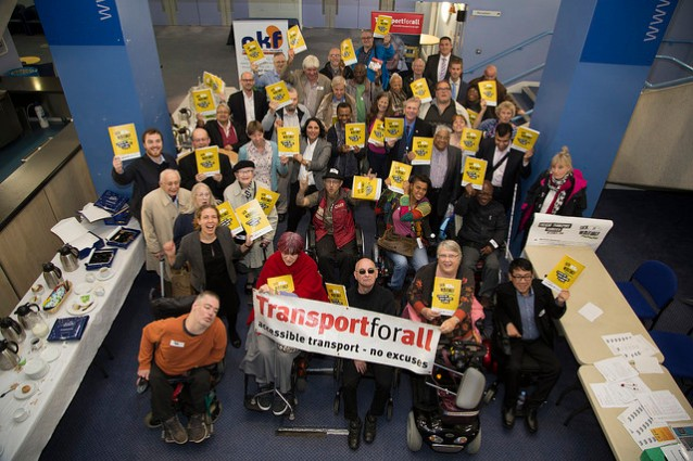 Campaigners for better patient transport at transportforall assembly in London on October 7 pic credit: Christa Holka