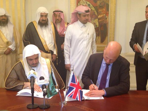 Chris Grayling last yearsigning the memorandum of understanding with the Saudis; Pic Credit: UsSembassy