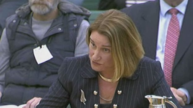 Justice Lowell Goddard giving evidence to House of Commons home affairs committee today. Pic credit: BBC