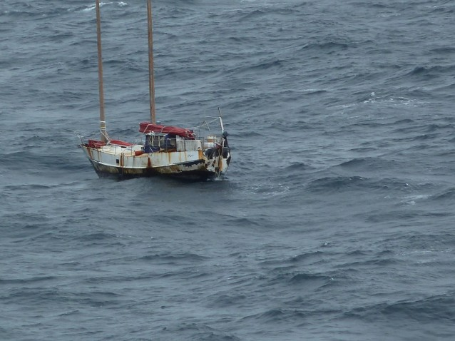 View of the abandoned boat  passed by Queen Mary 2  on July 6 and left floundering in the North atlantic
