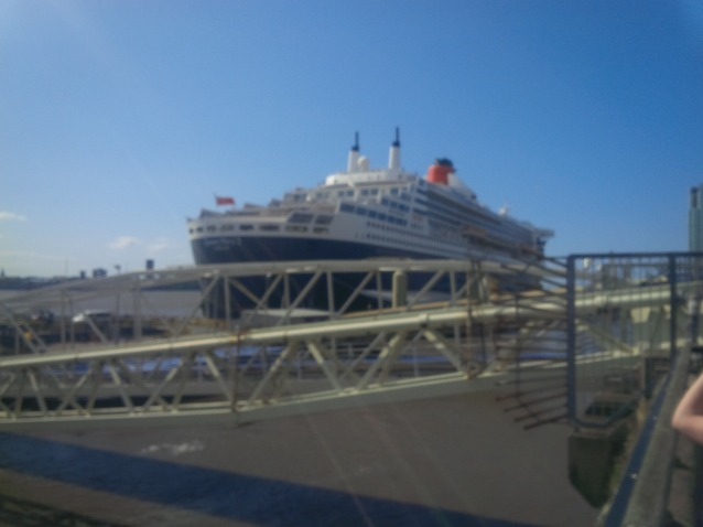 QM 2 at Liverpool at start of historic transatlantic crossing