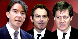 Labolur's three grandees- Mandelson, Blair and Campbell  Pic Credit: wherebuttheuk.com