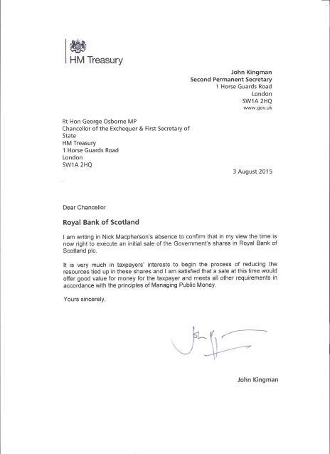 John Kingman Letter