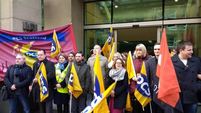 striking Commisison staff in Scotland