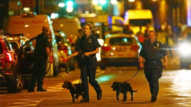 Police at Finsbury Park after latest terrorist attack