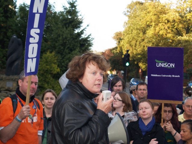 Linda Perks at a Unison protest. pic credit Flickr